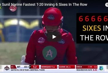 Watch Sunil Narine Fastest T-20 Inning 6 Sixes Row